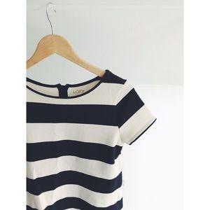 LOFT Navy + White Stripe Zipback Tee